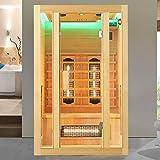 Artsauna Infrarotkabine Nyborg S120V – Vollspektrum Infrarotsauna - 2 Personen – LED-Farblicht, digitaler Steuerung – Hemlock-Holz