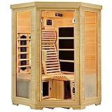 Artsauna Infrarotkabine Aalborg mit Triplex-Heizsystem   2 Personen   Hemlock Holz   120 x 120 cm   Infrarotsauna Infrarot Wärmekabine Sauna Kabine